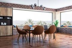 Coin panoramique de salle à manger de brique illustration de vecteur