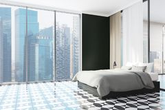 Coin panoramique noir de chambre à coucher, ville Photo stock