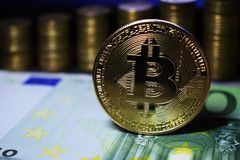 Coin physical golden Bitcoin BTC on green banknote, background from golden coins. stock photography