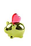 Coin pig with heart Stock Images