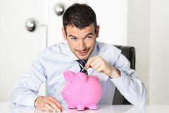 Coin and piggy royalty free stock photo