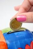 Coin in piggy. Insert euro coin in piggy stock image