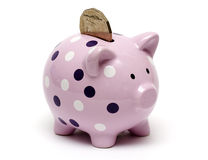 Coin in the piggy bank. Coin being inserted into the slot of the piggybank Stock Photo