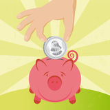 Coin and piggy Stock Image