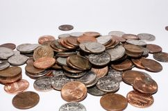 Coin pile. A piles of American coins Royalty Free Stock Images
