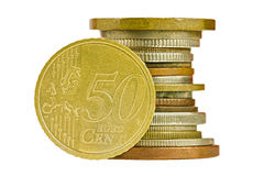 Coin pile with fifty cent euro isolated Stock Image