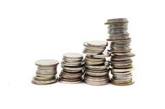 Coin pile Thai baht, on white background, Royalty Free Stock Photos