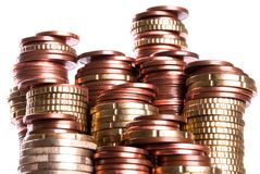Coin piles Royalty Free Stock Images