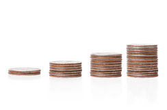 Coin piles Stock Photos