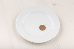 Coin on plate Royalty Free Stock Photos