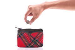 Coin Purse. Hand Putting a Nickel in a Coin Purse royalty free stock photography