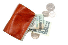 Coin Purse Spilling Money Stock Images