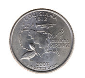 Coin in a quarter of the US dollar Stock Photos