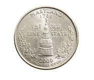 Coin in a quarter of the US dollar Stock Image