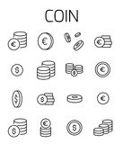 Coin related vector icon set. Well-crafted sign in thin line style with editable stroke. Vector symbols isolated on a white background. Simple pictograms Royalty Free Stock Image