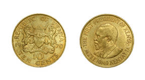 Coin of Republic of Kenya with image of first president Royalty Free Stock Photos