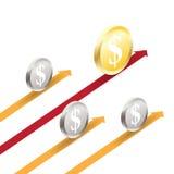 Coin Roll Progress Arrow Stock Photography