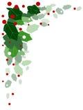 Coin rouge et vert de houx Photo libre de droits