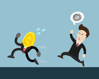 Coin run away from businessman who try to catch him vector illustration