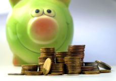 Coin with saving pig Stock Image