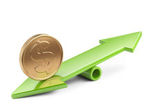 Coin on seesaw. Money concept, coin on scale balance seesaw Royalty Free Stock Photography