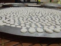 Coin shaped flour. White flour shaped coin Stock Photo