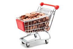 Coin shopping cart Stock Photography