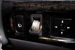 Coin slot in car. Use for collect your change Royalty Free Stock Photo