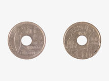 Coin from Spain. Spanish pesetas coin (pre-Euro currency stock image