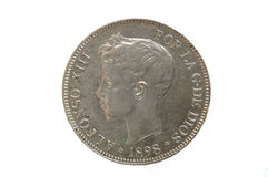 Coin,Spanish 19th century coin Royalty Free Stock Images
