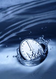 Coin Splash. Of  fresh water Stock Images