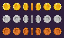Coin sprite sheet. A set of gold, silver and bronze coins on a purple background. Animation for computer games. Vector illustratio Royalty Free Stock Images