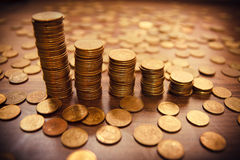 Coin stack on black bacground royalty free stock photos