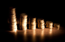 Coin stack on black bacground royalty free stock photo