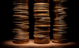 Coin stack on black bacground Royalty Free Stock Photography