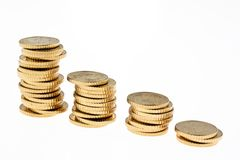 Coin Stack of euro coins Royalty Free Stock Photos