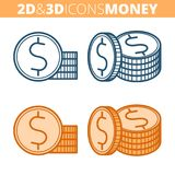 The coins stack. Flat and isometric 3d outline icon set. The coin stack. Flat and isometric 3d outline icon set. The dollar currency, metallic money line Stock Image