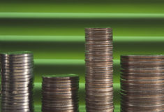 Coin stack graph Stock Photo