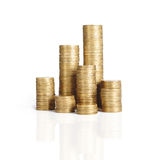 Coin stack. Isolated on white Stock Photography