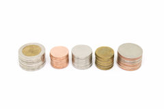 Coin stack isolated on white background. Money, coin stack isolated on white background Royalty Free Stock Images