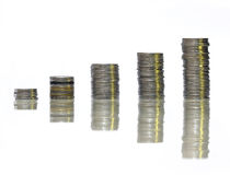 Coin stack in pleasant white background Stock Photos