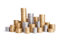 Coin stack on white Stock Image