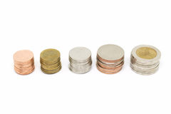 Coin stack on white background. Coin stack isolated on white background Royalty Free Stock Photography