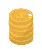 Coin stacks, flat design. Gold coins, cent, isolated on white background. Vector illustration, clip art. Stock Image