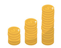 Coin stacks, flat design. Gold coins increase up, cent, isolated on white background. Evolution income. Vector Stock Image