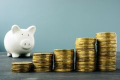 Coin stacks and piggy bank. Wealth growth and retirement plan. Concept royalty free stock images