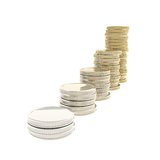 Coin stacks transforming from chrome metal to gold Royalty Free Stock Photos