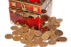 Coin stash. Money stash with some coins around it Stock Photography