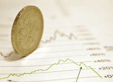Coin on stock chart. Image of a coin on stock chart Royalty Free Stock Images