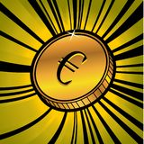 Coin with symbol of euro currency Stock Images